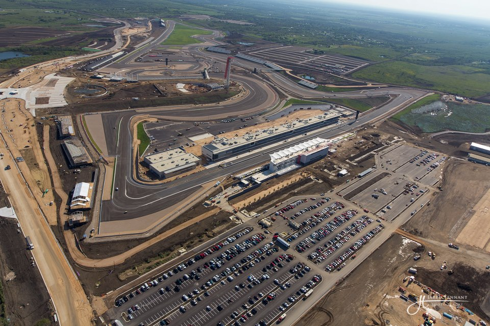 Aerial photography of formula 1 racetrack construction 2012